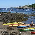 Beached Kayaks At Rockport Harbor by James Hoolsema