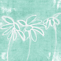 Beachglass And White Flowers 3- Art By Linda Woods by Linda Woods