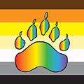Bear Colors With Rainbow Paw by Mark Denton