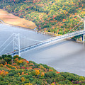Bear Mountain Bridge In Autumn by Clarence Holmes