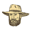 Bearded Cowboy Head Drawing by Aloysius Patrimonio