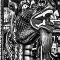 Bearded Dragon Ride Black And White by Garry Gay