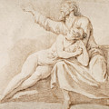 Bearded Man Embracing A Young Woman by Nicolas-Rene Jollain