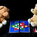 Bears Playing Halma by Elke Rampfl-Platte