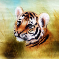Beautiful Airbrush Painting Of An Adorable Baby Tiger Head Looking Out From A Green Grass Surroundin by Jozef Klopacka