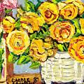 Beautiful And Vibrant Bouquets Of Flowers In Ceramic Vase Colorful Original Painting Carole Spandau by Carole Spandau