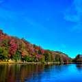 Beautiful Autumn Reflections On Bald Mountain Pond by David Patterson