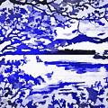 Beautiful Blue Pop Art Scene by Catherine Lott