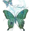 Beautiful Butterflies N Swirls Modern Style by Audrey Jeanne Roberts