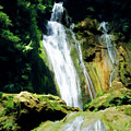 Beautiful Cascades Of Mele Falls Surrounded By Lush Foliage by Sami Sarkis