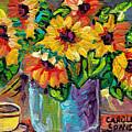 Beautiful Colorful Sunflowers In Blue Vase Original Painting By Carole Spandau by Carole Spandau
