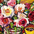 Beautiful Fresh Roses In Glass Vase With Yellow Cup Original Painting By Carole Spandau by Carole Spandau