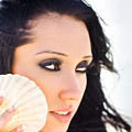 Beautiful Girl Holding A Cockle Shell by Jorgo Photography - Wall Art Gallery