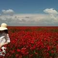 Beautiful Lady And Red Poppies by Georgeta  Blanaru