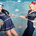 Beautiful Navy Pinup Girls On Marine Background by Jorgo Photography - Wall Art Gallery