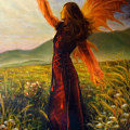 Beautiful Painting Oil On Canvas Of A Fairy Woman In A Historic Dress Standing In Rays Of Sunlight A by Jozef Klopacka