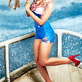 Beautiful Pinup Woman On Sightseeing Travel Cruise by Jorgo Photography - Wall Art Gallery