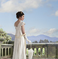 Beautiful Regency Woman Admiring The View From The Terrace by Lee Avison