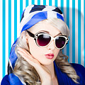 Beautiful Retro Pinup Girl In Scarf And Sunglasses by Jorgo Photography - Wall Art Gallery