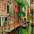 Beautiful Side Canal In Venice by Charlotte Blanchard