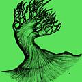 Beautiful Tree In Color Nature Original Black And White Pen Art By Rune Larsen by Rune Larsen