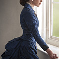 Beautiful Victorian Woman At The Window In A Blue Bussle Dress by Lee Avison