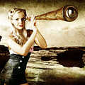 Beautiful Vintage Woman With Steampunk Telescope by Jorgo Photography - Wall Art Gallery