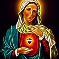 Beautiful Virgin Mary Sacred Heart by Pamela Johnson