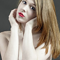 Beautiful White Woman On Red Chair by William Freebilly photography