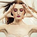 Beautiful Woman With Windswept Hair by Amanda Elwell