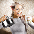 Beautiful Young Retro Woman With Cup Of Coffee by Jorgo Photography - Wall Art Gallery