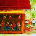 Beautys Cafe With Red Awning by Carole Spandau