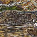 Beaver Family Animal Vignette by Dawn Senior-Trask