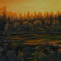 Beaver Pond At Sunset by Rebecca  Fitchett