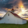 Beckwith Ranch At Sunset With Crepuscular Rays And Virga by Bridget Calip