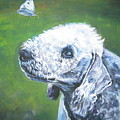 Bedlington Terrier With Butterfly by Lee Ann Shepard