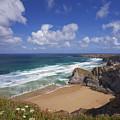 Bedruthan Steps Beach And Atlantic Surf In Summer Sun Cornwall  by Peter Barritt