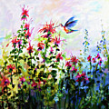 Bee Balm And Hummingbird In Garden by Ginette Callaway
