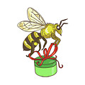 Bee Carrying Gift Box Drawing by Aloysius Patrimonio