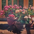 Begonias On Deck by Rosanne Wolfe