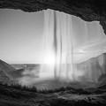 Behind Seljalandsfoss Sunset Bw by Michael Ver Sprill