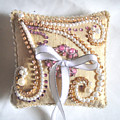 Beige-white Wedding Ring Pillow by Sofia Metal Queen