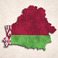 Belarus Map Art With Flag Design by World Art Prints And Designs