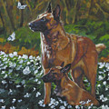 Belgian Malinois With Pup by Lee Ann Shepard