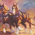 Belgian Team Pulling Horses Painting by Kim Corpany