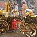 Belize Vendor With Bike by Lila Bahl