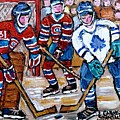 Bell Center Hockey Painting Carey Price Goalie Original 6  Habs Vs Leafs Hockey Art Carole Spandau by Carole Spandau