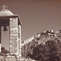 Belltower And Fortress Of Palamidi, Nafplio, Greece. Sepia. by Anna Finist
