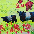 Belted Galloway Cows And Heather Illustration by Mike Jory