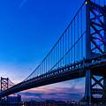Ben Franklin Bridge At Sunset by Carol Ward